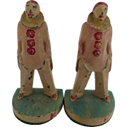 Pair of Polychrome Clown Bookends