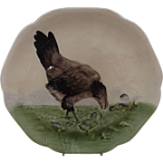 French Majolica Hen with Chicks Plate
