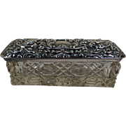 Small Rectangular Cut Glass Dresser Box with Silver Lid