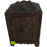 Large cast iron safe bank