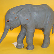 Large Standing Leather Elephant