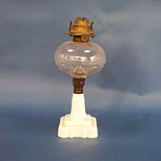 Milk Glass Base Oil Lamp with Clear Pattern Font