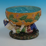 George Jones Majolica Punch  Bowl  with Punch Figure