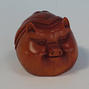 SOLD Netsuke of a Charming pigs head