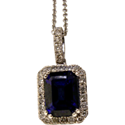 EFFY 14K White Gold Sapphire and Diamond Pendant Necklace