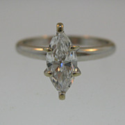 REDUCED FINAL MARKDOWN Vintage 14K Gold and 0.50 Carat Marquise Diamond Ring