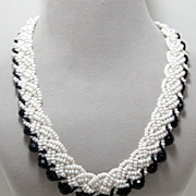 SALE Vintage Braided Glass Seed Bead Necklace