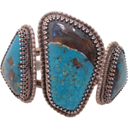 "Vintage  Native  Silver "" Royston"" Turquoise  Cuff Bracelet"