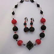 SALE Vintage Black & Red Beaded Necklace & Earring Set
