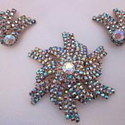 SALE Impressive Pinwheel Iridescent Rhinestone Brooch & Earring Set