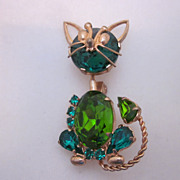 SALE PENDING Sweet Retro Trembler Rhinestone Cat Brooch