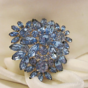 SALE Large Dazzling Blue Rhinestone Brooch