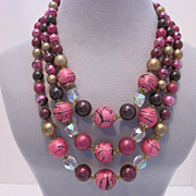 REDUCED Bright Colorful Vintage Beaded Necklace Made In Japan