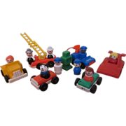 SOLD Collection of Fisher Price Little People Toys, Police car, Firetruck , Gas pump, Race car