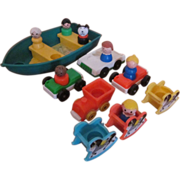 SOLD Fisher Price Little People Boat, Cars, Rocking Horses & People