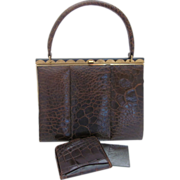 Vintage Brown Alligator Purse & Matching Wallet With Brushed Gold-tone Accent By Coret Of