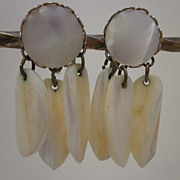SALE Signed Coro Mother Of Pearl Dangle Earrings
