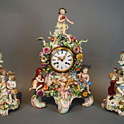 SOLD Antique Meissen Four Seasons Porcelain Clock Set with Pair of Candle Holders