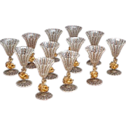 SOLD Set of 12 Vintage Venetian Murano Glass Dolphin Goblets
