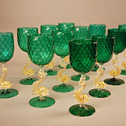 SOLD Set of 12 Salviati  Venetian Murano Glass Dolphin Goblets Wine
