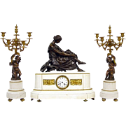 SALE Antique French Marble Bronze Clock Set Garniture ca 1860, Pradier sculpture