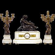SALE Antique French Marble Bronze Clock Set Garniture ca 1860, Pradier sculpture