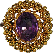 SALE Georgian Antique Gold Amethyst Ring  Cannetille ca 1830