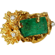 SALE Vintage 18K Gold Diamond Emerald Ring Freeform