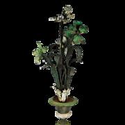 Antique Iron Plant Flower Garden Sculpture