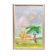 SALE Framed Contemporary Landscape Painting, Finley