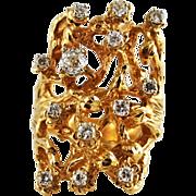 Vintage Large 14 K Gold Diamond Free form Freeform Ring