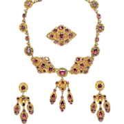 SALE Antique 18K Gold Garnet Parure Necklace Earrings Brooch Garniture Cannetille Set ca 1830