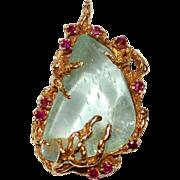18K Gold Arthur King Jewelry Freeform Pendant Vintage