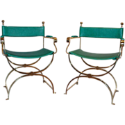 Pair of Vintage Brass Frame Savonarola Armchairs by Valenti