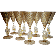 Set of 8 Venetian Glass Goblets Wine Water Swan Stem Vintage Stemware