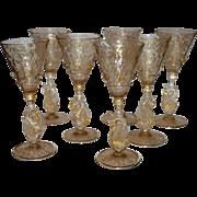 Set of 6 Venetian Glass Small Liquor Stemware Swans