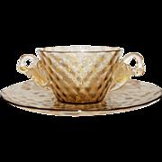 Vintage Murano Venetian Glass Bowl Plate Swans (repair) ,   3 of 3