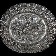 Antique Large Silver Flemish Charger Repousse Depicting Alexander
