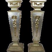 SALE Pair of Vintage Italian Painted Wood Pedestals, circa 1980