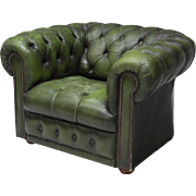 Green Leather Vintage Chesterfield Club Armchair