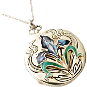 SOLD Beautiful vintage sterling silver enamel iris locket