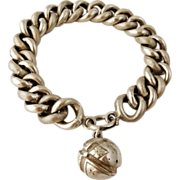 Antique French 800-900 silver bracelet and ball fob