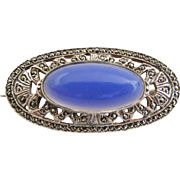 Mid century sterling silver marcasite and chalcedony brooch, English