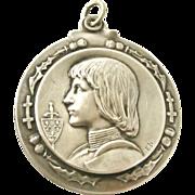 French Joan of Arc slide mirror locket by Emile Dropsy.