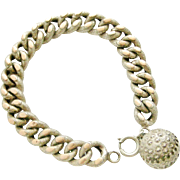 Antique French 800-900 silver & rose gold bracelet with ball fob