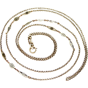 REDUCED Fabulous 62 inch lorgnette chain in 800 silver, niello and rose gold vermeil