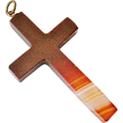 REDUCED Antique French Carnelian heavy cross Now Half Price