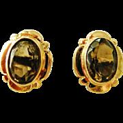 Vintage 9k gold smoky quartz stud earrings