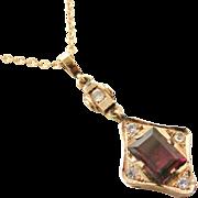 Art deco rose gold garnet white sapphire pendant on rose gold chain