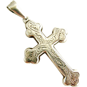 Edwardian antique sterling silver large pectoral cross